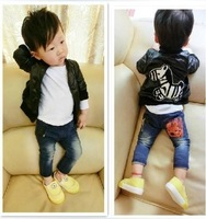 Autumn male child outerwear cardigan fashion leather clothing children cartoon small zebra casual jacket children outerwear