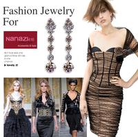 New Style Lady Wedding Ring Rhinestone Earrings Crystal Sparkling 100% 925,Sterling Silver Stud Female Ear Rings Women's Jewelry