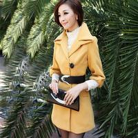 Medium-long woolen outerwear 2013 autumn and winter outerwear women wool coat slim women's