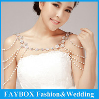 Fashion Luxury Flower design pearl Crystal  Multi Use ways Wedding Bridal Shoulder Chain necklace jewelry