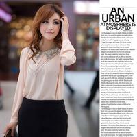 2014 New High Fashion Beautiful Long Sexy Rivet Collar Women's Chiffon Designer Shirts Blouses Tops spring and autumn