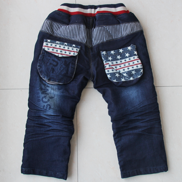 Boy big boy children children's clothing plus velvet thickening jeans trousers wadded jacket trousers(China (Mainland))