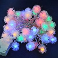 10pcs/lot,DHL/EMS, AC220V 5m 50leds led christmas colorful string light with mini controller,like a hairy ball or snowflake