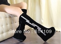 Free shipping high-heeled within the higher slope with heavy-bottomed boots waterproof suede rhinestone