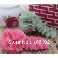 Free Shipping Long Fabric Chiffon Flowers For Clothes Shoes Brooch Hair Accessories 45pcs/Lot Wholesale