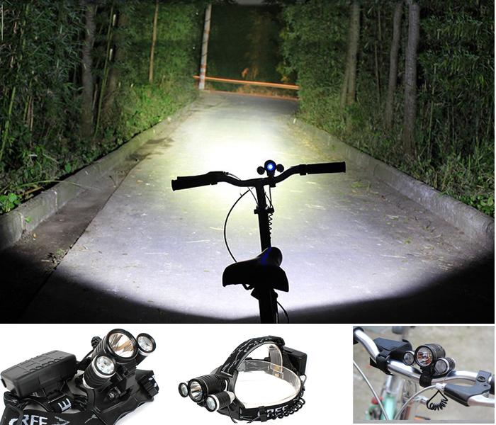 3000 Lumens 10W High Power CREE 3 Head XML T6 LED Bicycle Bike White Light Head Lamp 2 in 1 Aluminum alloy Waterproofing(China (Mainland))