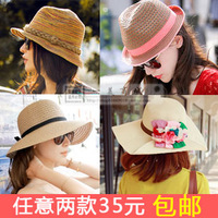 Straw hat female summer sunbonnet beach cap big along the cap flower cap roll up hem hat