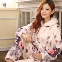 Flannel sleepwear female winter thickening thermal underwear heart coral fleece sleepwear female lounge flannel sleepwear