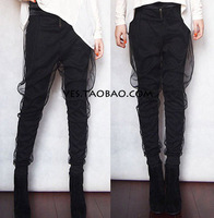 Vc 2013 faux two piece gauze perspective trousers harem pants hiphop belt zipper black