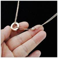 Europe Top Brand Design Accessory Necklace men women classic 18k rose gold titanium elegant male women's necklace