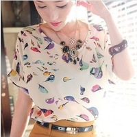 Free Shipping 2013 New Hot Sale 16 Styles New Women's T Shirts Colorful Chiffon T Shirt Batwing Loose Blouse Tee Tops S1