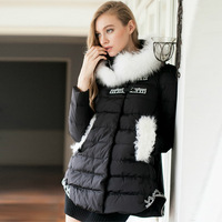 Winter fashion luxury fur thickening women's winter down jacket  wadded cotton-padded jacket