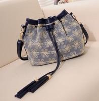 sale Women's handbag autumn and winter women's handbag vintage one shoulder bucket bag lace bag small bag cross-body female
