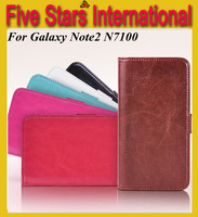 Wallet Design Stand Leather Case Cover For Samsung Galaxy Note II N7100 Free Shipping Wholesales+MOQ:2pcs