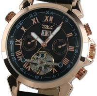 Jaragar Luxury Men Black Tourbillon Rose Golden Aviator Automatic Mechanical Watch