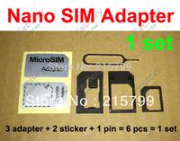 6 in 1 Nano Sim Card Adapter + Eject Pin Key + Adhesive Sticke , Micro Sim Adaptor Noosy for iPhone 5 6 (18000pcs) 3000sets/lot