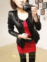 Free shipping 2013 fall and winter women's diamonds sticking pu leather slim short jacket leather jacket women 35268392966