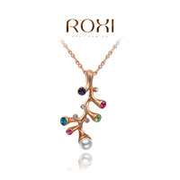 rose gold plated fashion colorful crystal necklaces & pendants,with pearl pendant,christmas gift for women,ROXI 2030230390