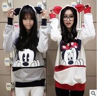 Free shipping women mouse mickey cotton hooded sweatshirts ladies cartoon sweatshirts jacket white grey  hoody coat