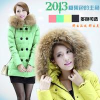 NEW fashion double breasted fur collar slim down coat medium-long female down coat