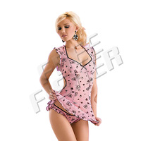Women's Sexy Lingerie underwear V-collar dress roleplay Pink QQ0026