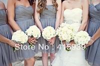 Short Knee Length Sweetheart Grey Chiffon Bridesmaid Dress Brides Maid Dress Free Shipping BN124