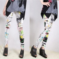 2013 New Girl Fashion Cartoon Graffiti Doodle Printing Sexy Leggings Pants HTDDK-011