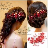 Bridal dress red headdress head flower hair ornaments handmade pearl frontlet studio accessories