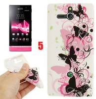 10 PCS Beautiful Hot New Heart Love Stars Flower Butterfly TPU Soft Case Skin for Sony Xperia U ST25i Free Shiping