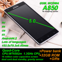 Lenovo A850 phone MTK6582 in stock Russian menu 5.5inch IPS QHD screen 1GB RAM 4GB ROM dual sim card