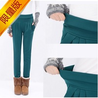 Casual autumn thickening mm plus size plus velvet pencil pants sports pants female