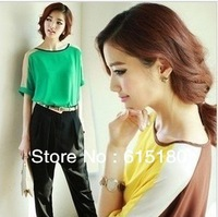 summer plus size clothing loose haircord color block decoration short-sleeve chiffon shirt S M L XL XXL