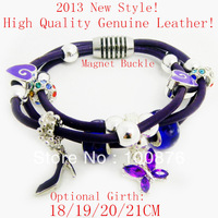 Free shipping,fashion European bracelets, genuine leather bracelet,Silver charm bracelet,2013 best Christmas Gift silverbracelet