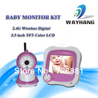 Free shipping 2.4G Wireless 3.5 inch TFT LCD Digital Baby Monitor /Wireless audio and video Monitor With Night Vision camera