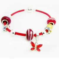 Free shipping,silver 925 european beaded bracelet, genuine leather bracelet,silver murono glass,Best Gift silverbracelet