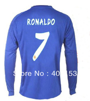 ronaldo #7 Real Madrid away blue soccer football jersey ,men's shirt