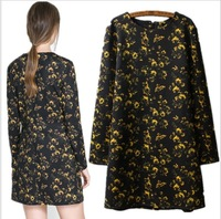 New Fashion wild Little flower print womens dresses long sleeve floral dress have Zipper