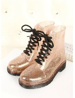 free shipping    New fashion Korean women transparent crystal Martin rain boots wellies Yellow silver size(36-40)