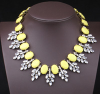 Free shipping yellow crystal necklace fashion statement necklace luxury choker necklace fashion jewelry for women wholesale