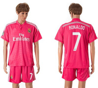 ronaldo #7 real madrid away blue soccer football jersey kit for men