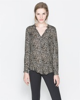 free shipping 2014 New fashion Temperament Slim Leopard V-neck shirt Europe America style long-sleeved chiffon blouse ft882