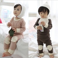Winter Baby Pajamas Set %100 Pure Cotton Thicken Leyo Warm Children Homewear Suit Kids Pajamas Pink And Brown QZ166