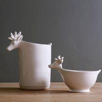 American style ceramic markor furnishings elizabethans salad bowl French pure white glazed animal ice-pail bottle