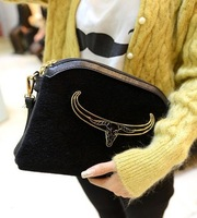 Top Quality ! Lady's Horsehair Handbags , Mental Cow Head Decorate , Leopard Prints Shoulder Bags , Messenger Bag