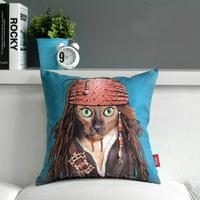 """Captain Jack Sparrow Creative Blue Sofa Plush Cushion Throw Pillows, Bedroom or Office Cartoon Star Cushion 17""""*17"""" (only cover)"""