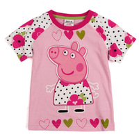 New Style Summer Children T Shirt Embroider Cartoon Peppa Pig Short Sleeve Baby Girls Tshirt Pure Cotton 1-5Year QZ161
