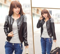 2013 New Fashion Hot Sale Top Grade PU Leather Women Jacket O Neck Slim Short Women Coat With Four Colors M-XXL