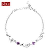 GS brand SL-27 Bracelets for women 2014 cute dolphin fashion 925  sterling silver jewelry vintage charm bracelets Bangles