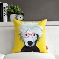 "Andy Warhol Creative Yellow Sofa Plush Cushion Throw Pillows, Bedroom or Office Cute Cartoon Star Cushion 17""*17"" (only cover)"