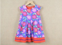 High Quality Factory Children Clothing %100 Pure Cotton Big Flower Girls Floral Dress Sleeveless Baby Kids Vest Dresses XR49